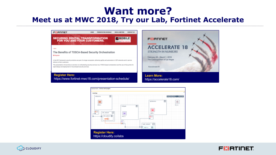 Highlights of Deploying Fortinet VNFs with Cloudify Webinar