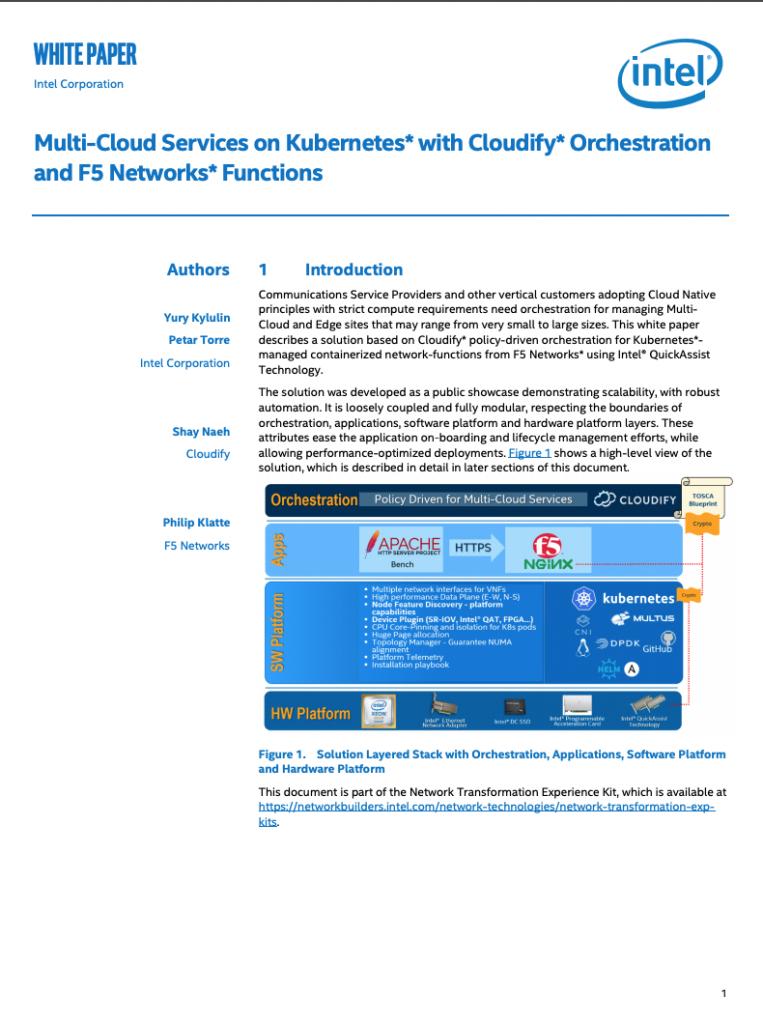 intel cloudify kubernetes whitepaper